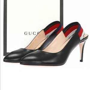 Lk new Gucci Black Leather Web Slingback Pumps